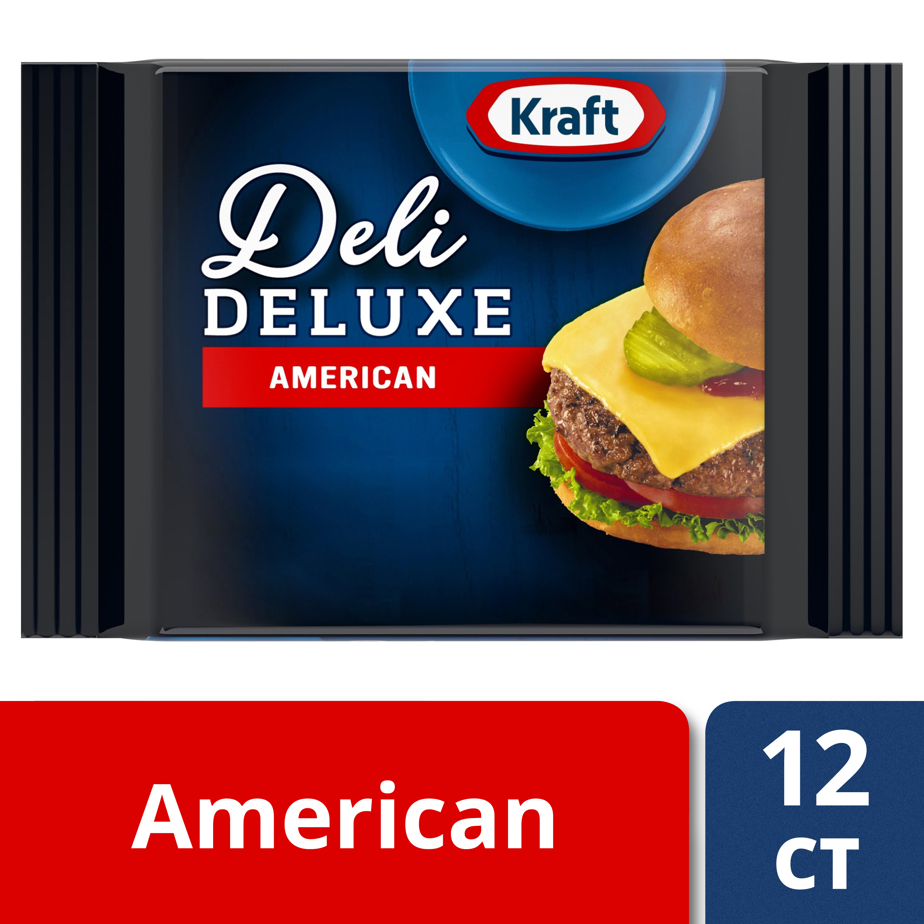 Kraft Deli Deluxe Cheese Slices, American Cheese, 12 ct - 8.0 oz Wrapper