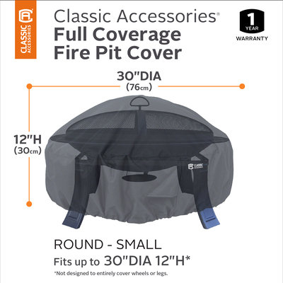 Classic Car Accessories Classic Accessories 55-552-010401-00 Round Fire Pit Cover, 30, Black