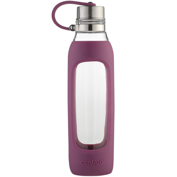 Ignite Usa Llc Contigo 20 oz. Purity Glass Water Bottle with Tethered Lid - Radiant Orchid