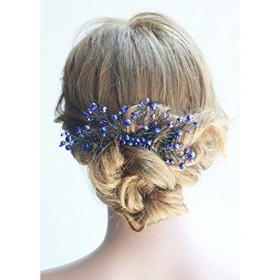 Missgrace Bridal and Women Crystal Navy Blue Hair Jewelry Wedding Blue Hair Comb Women Crystal Hair Clip Headpiece for Wedding and Party Vintage Hair Comb Bridal Hair Accessories