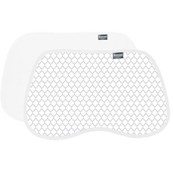 Kushies Burp Pads Flannel 2-Pack Ornament Light Background Grey / White