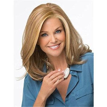 Women Wigs Dark Blonde Heat Resistant Synthetic Golden Blonde Highlights Medium Length Wavy Natural Wigs 16 Inch