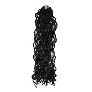 UNA 4 Pieces Faux Locs Crochet Twist Hair Braids Synthetic Hair Extensions Fauxlocs Fiber Braiding Hair Afro Kinky Soft Dread Dreadlocks 1B Black Color 20'' (3 Pieces/lot)