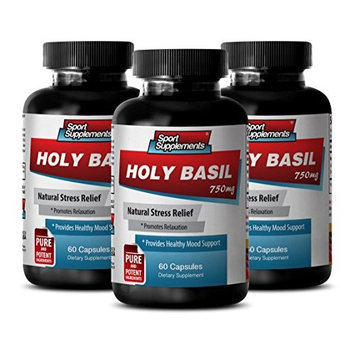 Antioxidant pills - HOLY BASIL EXTRACT 750Mg For Natural Stress Relief - Holy basil - 3 Bottles 180 Capsules