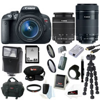 Canon EOS Rebel T5i 18.0 MP CMOS Digital Camera with EF-S 18-55mm + Canon EF-S 55-250mm + 32GB GB Accessory Kit