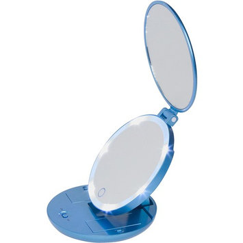 Travel Makeup Mirror with Lights - 1X and 5X Magnifying Makeup Mirror with Dimmable Lights, Batteries Included, Metallic Blue [Metallic Blue - Travel Size]