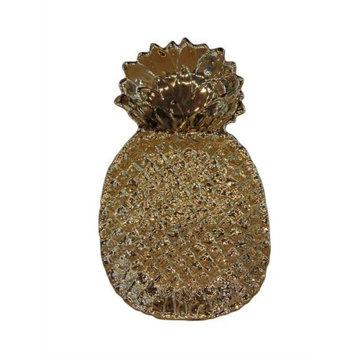 Benzara Pineapple Inspired Patterned Ceramic Plate, Gold