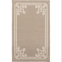 3.25' x 5.25' Resplendent Light Taupe and Sky Gray Hand Woven Wool Area Throw Rug