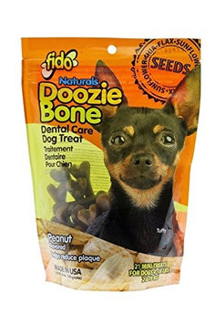 Fido Naturals Doozie Bone - Dental Care Dog Treat, Peanut Flavored, 21ct (Mini Treats)