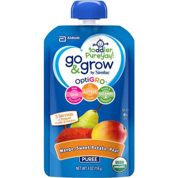 Abbott Nutrition Go & Grow by Similac Fruit and Veggie Pouches with OptiGRO, Mango, Sweet Potato, Pear Puree, For Toddlers, Organic Baby Food, 4 ounces (Pack of 12)