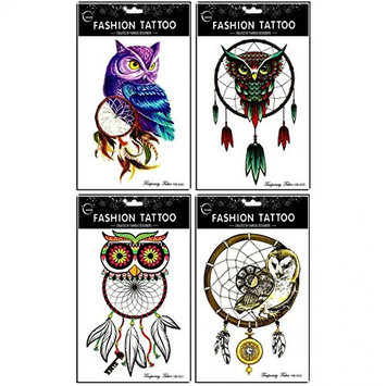 Grashine long last and realistic temp tattoo stickers 4pcs different colorful owl temporary tattoo in 1 package