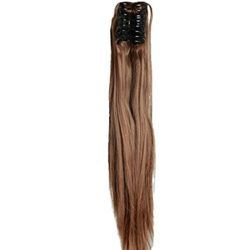 Light Brown Long Straight Claw Ponytails 21 Inches Clip on Ponytail Hair Extensions Hairpiece Pony Tail Extension for Girl Lady Women