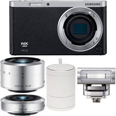 Samsung NX Mini Smart Wi-Fi Digital Camera with 9-27mm & 9mm Lenses, Flash & Case (Black)