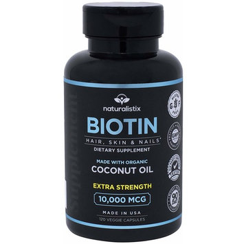 Naturalistix Biotin 10000mcg Liquid Vegan Capsules For Hair, Skin, Nails (Maximum Strength). Promotes Hair Growth, Healthy Skin, Strong Nails & Reduces Hair Loss; 120 Soft Capsules; Made In USA