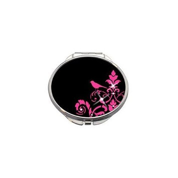 Pink Bird Compact Mirror with Pink Leatherette Pouch