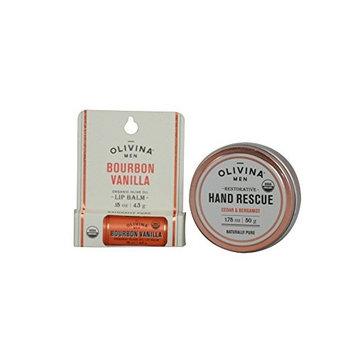 Olivina Mens USDA Organic Restorative Hand Rescue and Olive Oil Lip Balm Set
