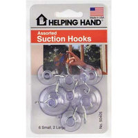Helping Hands 50405 Assorted Suction Cup Hooks, Clear (3 pack)