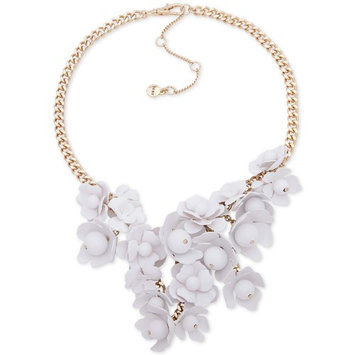 Gold-Tone White Floral Frontal Necklace, 16