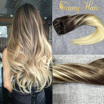 Sunny 18inch Remy Human Hair Extensions Clip in 7pcs 120G Golden Brown to White Blonde Dip and Dye Ombre Full Head Clip in Hair Extensions Human Hair [#14/60, 18