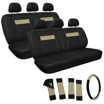 Istiloshoppe Car Accessories Tan Beige and Black 2 Two Bench Back Rows Full Complete Car Seat Cover Set