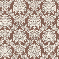Blue Mountain Wallcoverings Blue Mountain Small Damask Wallcovering, Chocolate/White