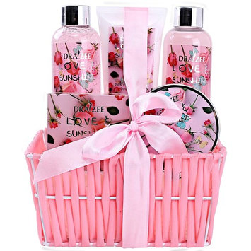 Spa Gift Basket for Woman with Refreshing Lovely Rose Fragrance by Draizee – Luxury Skin Care Set Includes Lotions, Creams, Bubble Bath and Much More! #1 Best Gift Idea for Wife, Mom and Girl Friend … [Refreshing Lovely Rose]