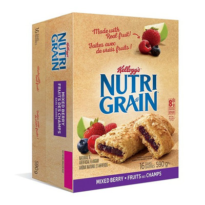 Kellogg's Nutri-Grain Mixed Berry Flavour 16 bars, 590g/20.81 Ounce box (Imported from Canada)