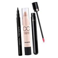 Dovewill Set of 3 Cosmetic Kit Moisturizing Liquid Lipstick + Eyeliner Pen + Concealer Stick Spot Acne Face Corrector Makeup