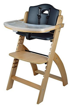Beyond Junior Y Wooden Highchair by Abiie (Natural / Black Pearl Cushion)
