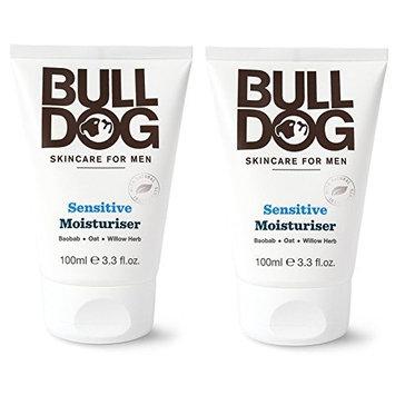 Bulldog Skincare Sensitive Moisturizer For Men (Pack of 2) With 2 Essential Oils, Green Tea, Green Algae, Konjac Mannan and Vitamin E, 3.3 fl. oz.