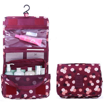 Toiletry travel case for Women, travel cosmatic make up case washable woman hanging toiletry bags--Burgandy color with Daisy Design