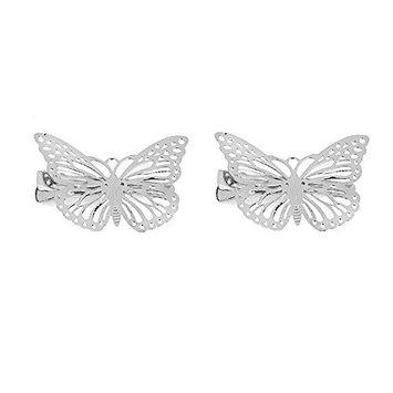MagiDeal Pack Of 2 Vintage Butterfly Hair Clip Hair Accessories Bridal Headwear Hair Clips - Silver