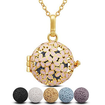 INFUSEU Pink Daisies Aromatherapy Essential Oils Diffuser Necklace with 5 PCS Multi-Colored Lava Rock Stones for Women Girl Jewelry Set