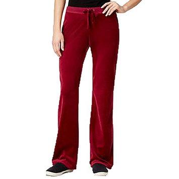Hippie Rose Juniors Velour Flare-Leg Pant Spicy Sangria XL
