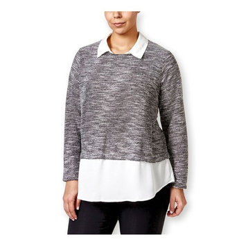 Eyeshadow Womens LS Layered-Look Pullover Blouse