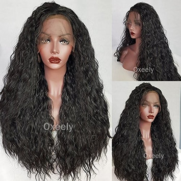 Oxeely Synthetic Front Lace Wigs Water Wave Front Hand Knotted Heat Resistance Fiber Full Wigs Natural Black 26``