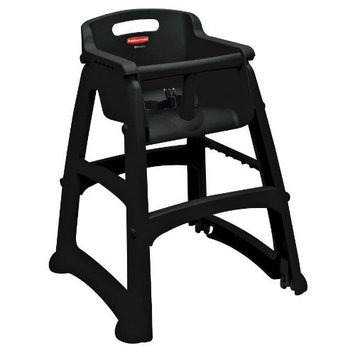 Rubbermaid Commercial Sturdy Chair Youth Seat High Chair with Wheels, Black, FG780508BLA [Preassembled With Wheels, Black]
