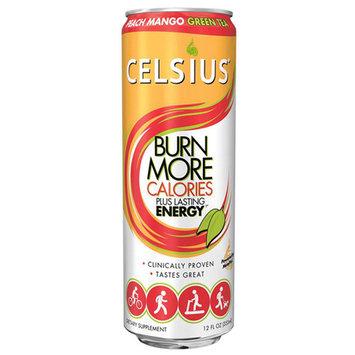 Celsius Peach Mango Green Tea 12 oz Cans - Pack of 4