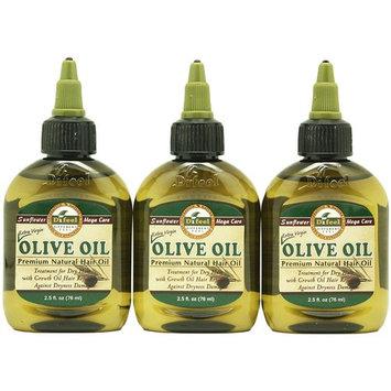 Difeel Premium Natural hair OLIVE Oil 2.5 oz(3 Pack)