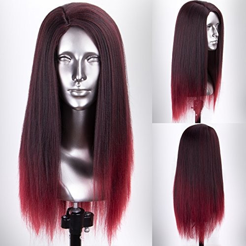 Persephone Red Ombre Yaki Wig, Right Side Part Wine Red Yaki Synthetic Wig for Women 2 Tones Heat Resistant Fiber 16 Inches