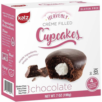 Katz Gluten Free Chocolate Crème Filled Cupcakes   Dairy, Nut, Soy and Gluten Free   Kosher (1 Pack of 4 Crème Cupcakes, 7 Ounce)