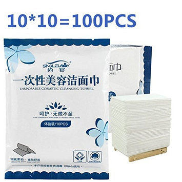 XICHEN 10 bag of 100 sheets Disposable Towel for Washing Face Cotton Pads Cosmetic Cotton Travel portable equipment Wet and dry