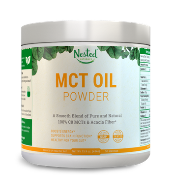 Nested Naturals Pure C8 MCT OIL POWDER 454 g No Carb Medium Chain Triglycerides + Prebiotic Acacia Fiber Natural Energy Booster and Keto Supplement - Mix in Coffee or Liquids Premium Coconut & Palm oils 16 oz