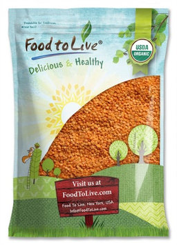 Organic Red Split Lentils by Food to Live (Whole Dry Beans, Non-GMO, Raw, Sproutable, Bulk) - 10 Pounds
