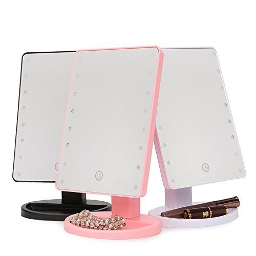 Natural Daylight Lighted Makeup Mirror 22 LED White Touch Screen Professional Vanity Mirror Lights Adjustable Countertop 180 Rotating