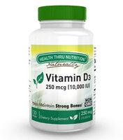 Health Thru Nutrition Vitamin D3 10,000 IU Non GMO 120 Mini Softgels (10000 iu cholecalciferol) Soy Free, USP Grade Natural Vitamin D