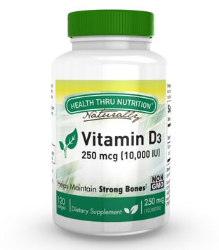 Health Thru Nutrition Vitamin D3 10,000 IU Non GMO 120 Mini Softgels (10000 iu cholecalciferol) Soy Free, USP Grade Natural Vitamin D