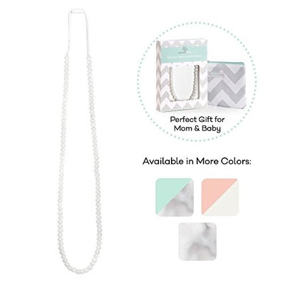 Goobie Baby Zoe Silicone Teething Necklace for Mom to Wear, Safe BPA Free Beads to Chew