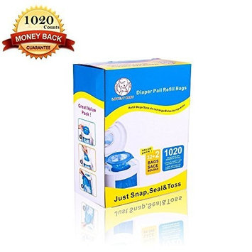 DIAPER PAIL REFILL BAGS ,1020 COUNTS,FULLY COMPATIBLE WITH ARM&HAMMER DISPOSAL SYSTEM- 34 BAGS