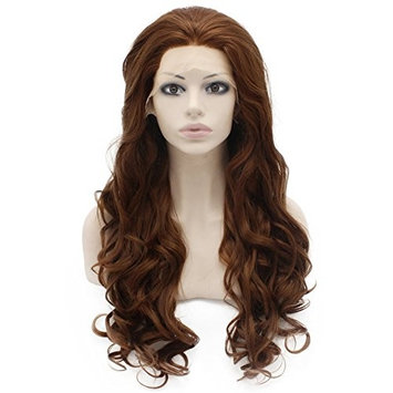 Mxangel Long Wavy Heat Resistant Fiber Synthetic Lace Front Brown Auburn Natural Wig